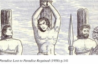 Jesus glatt rasiert bei seiner Kreuzigung mit den beiden Männern